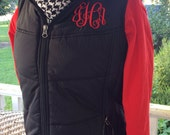 Monogrammed Personalized Ladies Womens Puffy Vest Coat Black, Bermuda Pink, White, and Brown
