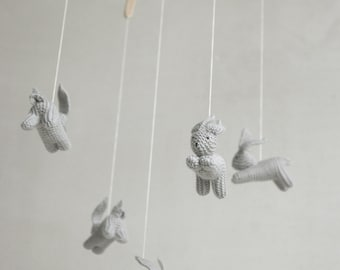 baby mobile - baby crib mobile - nursery mobile -  gray bunny mobile - gray rabbit mobile -   made to order