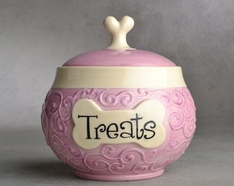 Dog Treat Jar  Made To Order Curls Lilac Pet Treat Jar by Symmetrical Pottery
