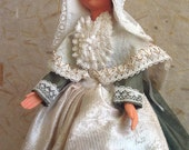 French Aunis-Saintonge costume doll, folk doll, vintage, Petitcollin, Charente-Maritime, French Atlantic Coast, art doll
