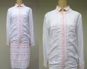 Vintage 1960s Dress / 60s White Lace Drop Waist Mod Wedding Dress / Medium