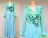 Vintage 1960s Evening Gown / 60s Dan Werle Original Chiffon Couture Gown / Medium
