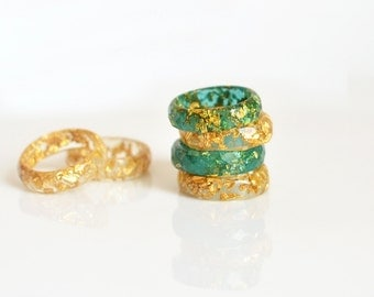 Stacking rings, golden and teal faceted ring,  eco resin jewelry, resin ring minimalist jewelry gold flakes