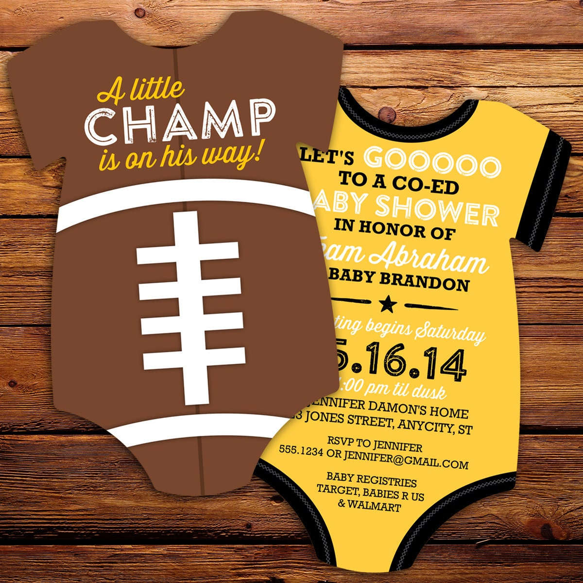 Design your own t shirt infant - Football Baby Shower Invitation Diy All Star Invitation Printable Invitations Print Your Own Double Sided In Any Team Colors