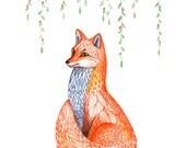 Sakura fox // SALE 1+1 // Buy one get one FREE, spring animal art print