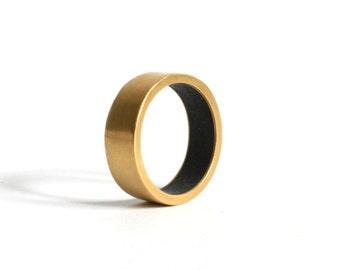 Lapis lazuli gold ring, wide gold wedding band, men's wedding ring, gold wedding band, his and hers wedding ring