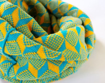 Thick Knit Scarf - Infinity Scarf - Geometric - Teal & Mustard