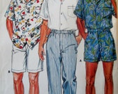 Butterick 3777 Mens 80s Shirt Shorts PantsSewing Pattern Chest 30 32