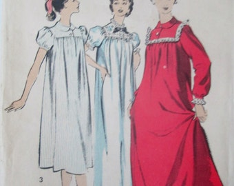 Advance 8488 Womens 50s Yoke Top Nightgown in Two Lengths Sewing Pattern Bust 32