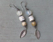 Yellow Turquoise, Opalite, Naga Shell, and Sterling Silver Earrings