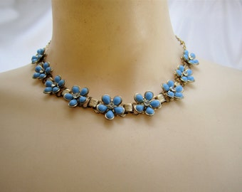 Vintage Blue Flower 1950's Necklace and Earrings Collectible Necklace Women's Teen's Jewelry Collectible Necklace Madmen