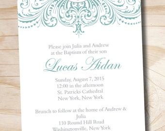 ORNATE BAPTISM Custom Baptism Invitation / Christening Invitation ...