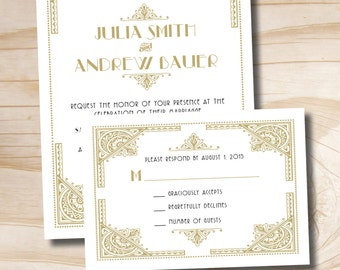 ART DECO GATSBY Wedding Invitation/Response Card - printed sample set