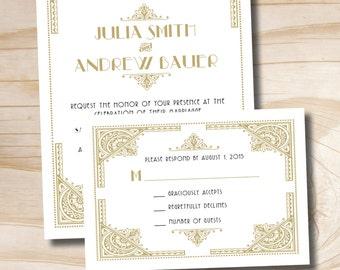 ART DECO GATSBY 1920's Wedding Invitation and Response Card Invitation Suite