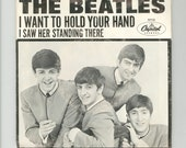 The Beatles I Want To hold Your Hand, I Saw Her Standing There Picture Sleeve 45 rpm Capitol 1st Pressing Single B side with Walter Hofer