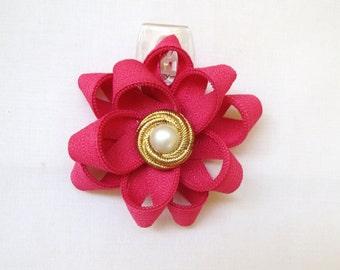 Zipper Flower Pin, Flower Pin, Brooch