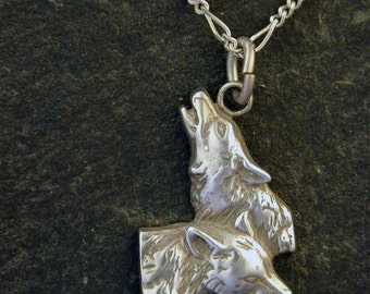 Sterling Silver  Wolf Pendant on Sterling Silver Chain.