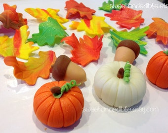 Set of 18 FALL THEMED Edible Fondant Toppers