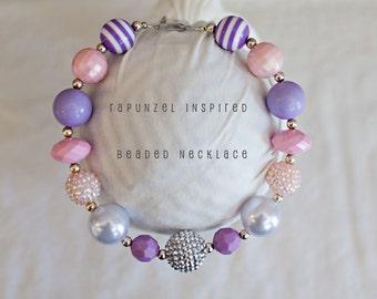 Rapunzel Necklace...Rapunzel Chunky Necklace...Rapunzel Bubblegum Necklace..Disney Princess..Tangled..Purple Necklace..Pink Necklace