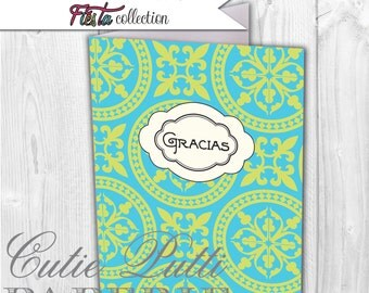 Vintage Fiesta Party, Mexican Party Printable Thank You Cards By Cutie Putti Paperie