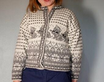 Norwegian Girls Cardigan Sweater Kittens
