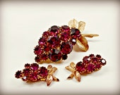 Vintage Brooch and Earring Set - Deep Purple Grapes with Gold Accent