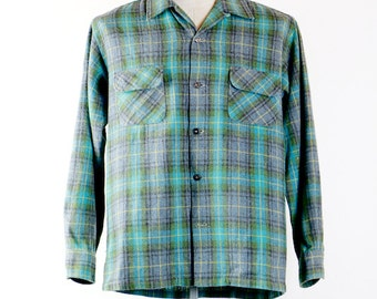 men's flannel shirt, 1950's vintage Penney's TOWNCRAFT Plus wool plaid flannel button down shirt, L 16 - 16.5