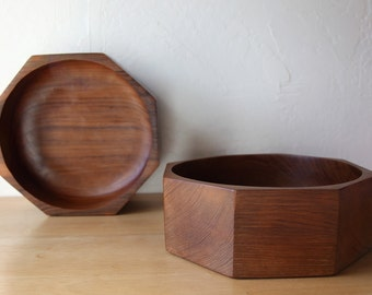 Mid Century Teak Salad Bowls // Octagon Wood Serving Dishes // Pair of 2