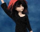 MARKDOWN Black Fuzzy Sparkle Sweater 45cm BJD Shirt