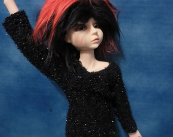 Black Fuzzy Sparkle Sweater 45cm BJD Shirt
