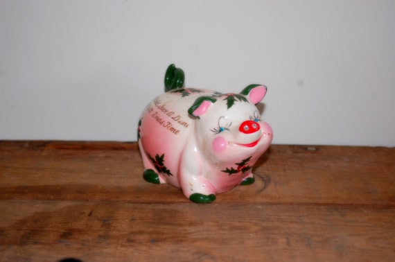 Kitchy Christmas Ceramic Piggy Bank By Kreiss By