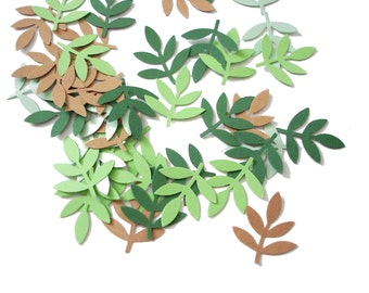 50 Green and Kraft Fern Leaf punch die cut confetti scrapbook embellishments - No320