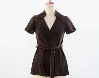 FREE SHIP  1960s suede leather wrap top