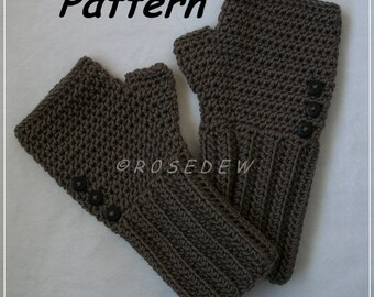 Instant Download to PDF CROCHET Pattern: Simple Ribbed Fingerless Mitts