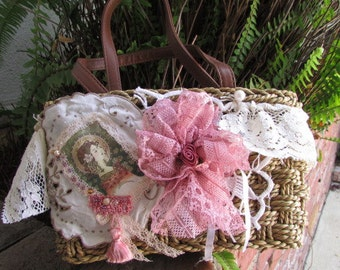 Lace Wicker Handbag, Whimsical natural rattan purse, woodland fairy, tattered mori girl, romantic shabby victorian SMALL