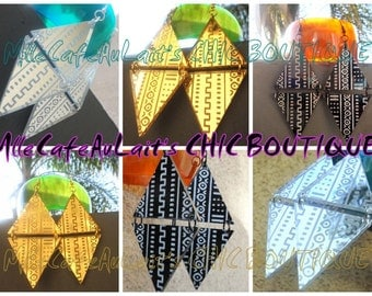 African Style Mudcloth Print Etched Earrings- MAJESTIC MUDCLOTH
