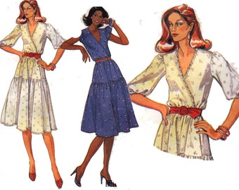 "80s Dress Sewing Pattern Faux Wrap Bodice Boho Tiered Skirt Size 14 Bust 36"" (91 cm) McCall's 7041"