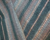 """55"""" Wide Vintage Retro Shimmery Mauve and Denim Color Stripe Upholstery Fabric for Chair Cushions Ottomans Benches Settee Industrial Decor"""