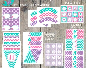 INSTANT DOWNLOAD - Mermaid Party Package Printable