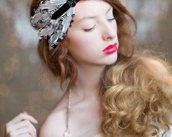 1920s Headpiece, 1920s Hair Accessories, Great Gatsby Headband, Flapper Style Feather Headband, Art Deco 1920s Beaded Headpiece