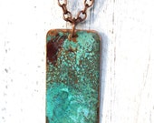 Patina Copper Necklace Verdigris Green Turquoise Blue Rustic