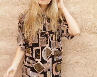 90s fresh prince OVERSIZE slouchy versaces style watercolor abstract BUTTON up