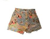 Vintage Cutoff DISNEY Shorts High Waisted Mickey Mouse Hawaiian 80's Jean Cutoff Shorts