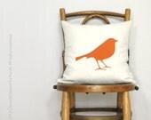 12x18 or 16x16 Decorative Bird Pillow Case, Chevron Cushion Cover | Orange and White Geometric Zig Zag Accent | Colorful Modern Home Decor