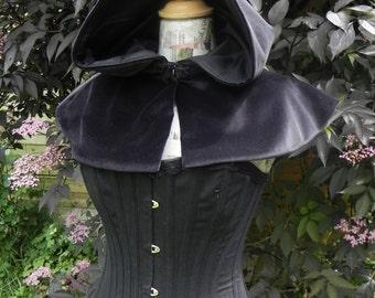 Black  Cotton Velvet Hooded Capelet with Black lining