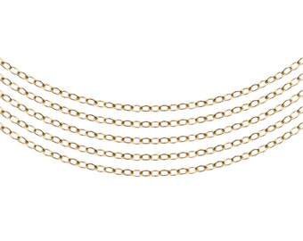 14Kt Gold Filled 1.9x1.4mm Flat Cable Chain - 5ft (5459-5)  Made in USA 10% discounted  wholesale quantity