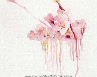 "Cherry Bloom / 8"" x 10"" fine art watercolor print"