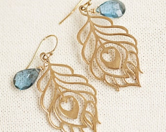 Peacock Feather 24K Gold Plated Earrings with London Blue Topaz
