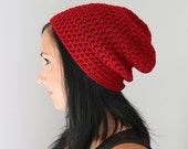 Cranberry Red Philly Slouchy Beanie Hat, Red Unisex Adult Classic Beanie, Winter Accessories