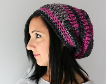 Black and Raspberry Slouchy Hat, Winter Style Accessories